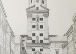 """DZ01 – """"Vilshofen"""" 32×40 I Bleistift auf Karton (1977)"""