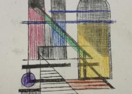 """DZ32 – """"Ohne Titel"""" 10×10 I colorierter Kupferstich (2003)"""