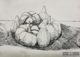 """DZ35 – """"Stilleben mit Früchten"""" 15×20 I Radierung (2004)"""