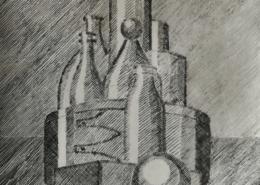 """DZ38 – """"Stilleben mit Flaschen"""" 15×20 I Radierung (2004)"""