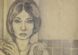 """P02 – """"Karin"""" 10x10cm I Bleistift auf Papier (1978)"""