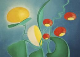 """W12 – """"Blume mit gelben Blüten und roten Früchten"""" 31x40cm I Öl auf Leinwand (1980)"""