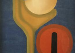 """W14 – """"Frau mit rotem Spiegel"""" 30x40cm I Öl auf Leinwand (1981)"""