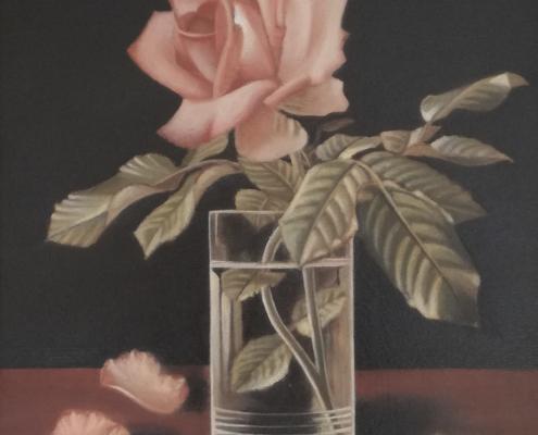"""W48 – """"Stilleben mit Rose"""" 40×50 I Öl auf Leinwand (2017)"""